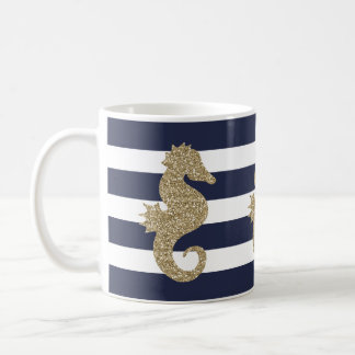 海軍または白のストライプなコーヒー・マグのかわいい金ゴールドのタツノオトシゴ コーヒーマグカップ