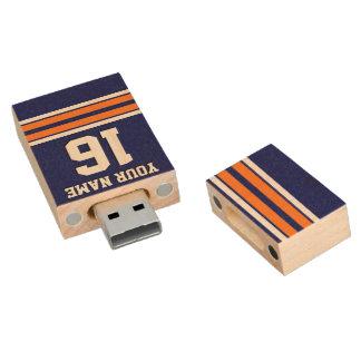 海軍カボチャオレンジチームジャージーカスタムな数名前 木製 USB メモリ