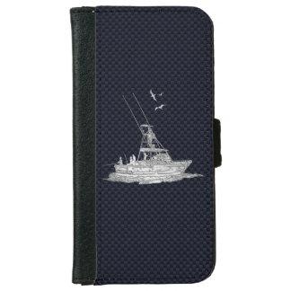 海軍カーボン繊維のプリントを採取するクロムスポーツ iPhone 6/6S ウォレットケース