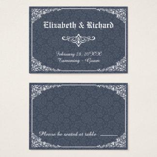 海軍ゴシック様式ビクトリアンなダマスク織の結婚式の座席表 名刺
