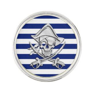海軍ストライプのプリントのクロム海賊スカル ラペルピン
