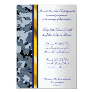 海軍デジタルカムフラージュの結婚式招待状 カード
