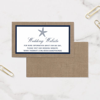 海軍ヒトデのバーラップのビーチ結婚式のコレクション 名刺