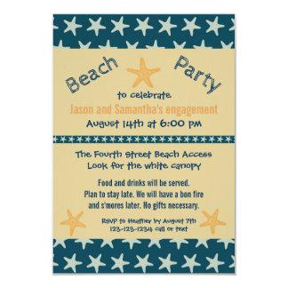 海軍ヒトデのビーチ- 3x5婚約パーティの招待 カード