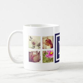 海軍モノグラムのInstagramの写真のコラージュのマグ コーヒーマグカップ