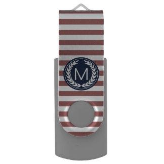 海軍モノグラム16gbが付いているMarsalaのストライプ USBフラッシュドライブ