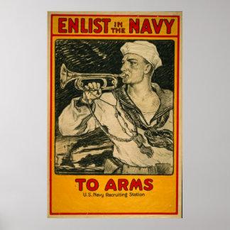 海軍ヴィンテージポスターで入隊して下さい ポスター