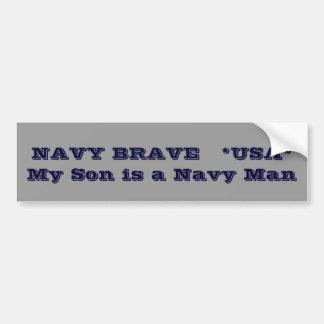 海軍勇敢な   *USA*は     私の息子海軍人です バンパーステッカー