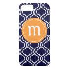 海軍及びオレンジのプレッピーなモロッコのカスタムなモノグラム iPhone 8/7ケース