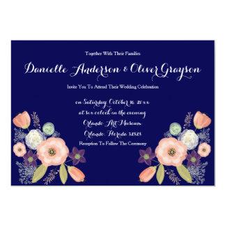 海軍及びモモの水彩画の花柄の結婚式招待状 カード