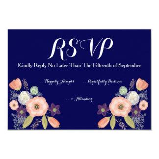 海軍及びモモの水彩画花の結婚RSVPのカード カード
