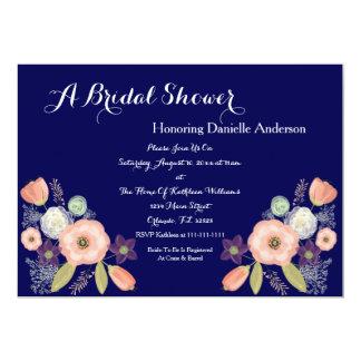 海軍及びモモの花柄のブライダルシャワー招待状 カード