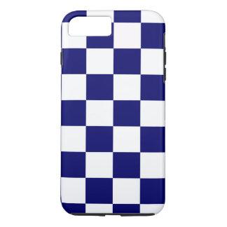 海軍及び白いチェック模様のパターンiPhone 8のプラスの例 iPhone 8 Plus/7 Plusケース