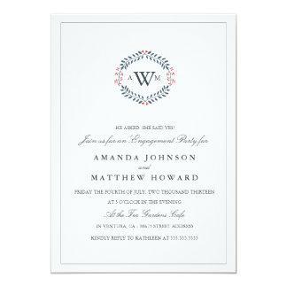 海軍及び赤い花の結婚式の婚約パーティの招待 カード