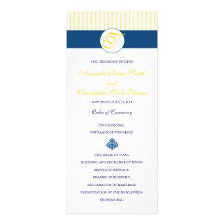 海軍及び黄色のストライプな結婚式プログラム ラックカード