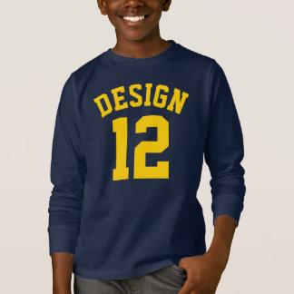 海軍及び黄色の子供|のスポーツのジャージーの金デザイン Tシャツ