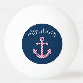 海軍名前をカスタムするを用いるかわいいピンクの水玉模様のいかり 卓球 ボール