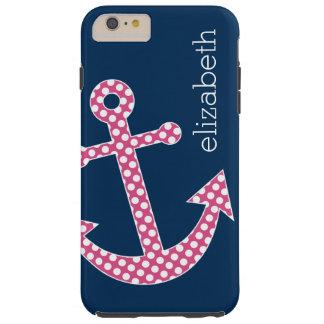 海軍名前をカスタムするを用いるかわいいピンクの水玉模様のいかり TOUGH iPhone 6 PLUS ケース
