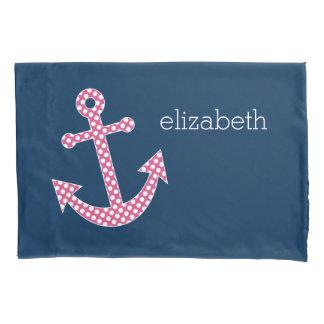 海軍名前をカスタムするを用いるピンクの水玉模様のいかり 枕カバー