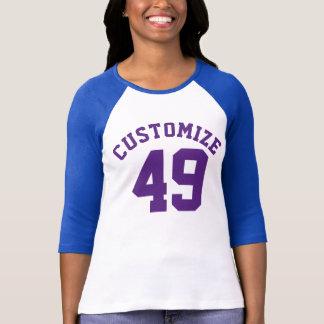 海軍大人|のスポーツのジャージーの白い及び紫色のデザイン Tシャツ