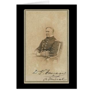 海軍大将のデイヴィッドFarragut 1860年署名されたカード グリーティングカード