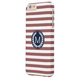 海軍月桂樹のリースのモノグラムが付いているMarsalaのストライプ Barely There iPhone 6 Plus ケース