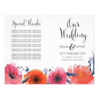 海軍水彩画の花の結婚式プログラムの小冊子 チラシ