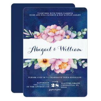 海軍水彩画の花柄の結婚式招待状 12.7 X 17.8 インビテーションカード