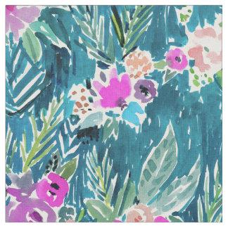 海軍熱帯楽園のハワイのハイビスカスの花柄 ファブリック