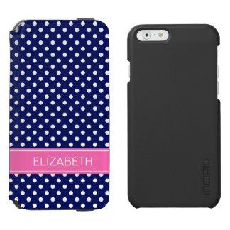 海軍白い水玉模様のショッキングピンクの名前のモノグラム iPhone 6/6Sウォレットケース
