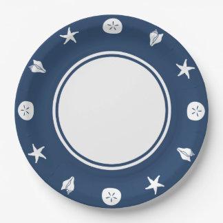 海軍紙皿の夏の貝殻 ペーパープレート