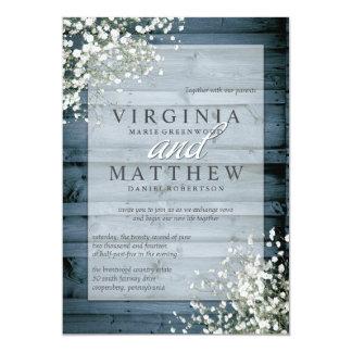 海軍素朴な赤ん坊の呼吸結婚式招待状 カード