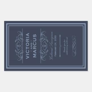 海軍結婚式のワイン・ボトルのモノグラムの好意のラベル 長方形シール