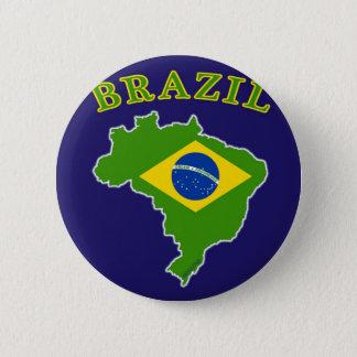 海軍背景のブラジルの地図か旗 缶バッジ