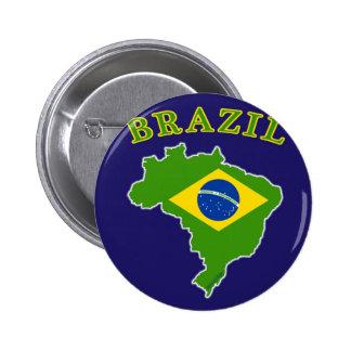 海軍背景のブラジルの地図か旗 5.7CM 丸型バッジ