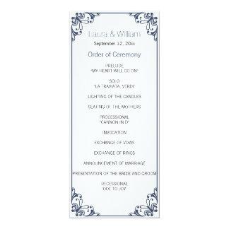 海軍華麗さの結婚式プログラム 10.2 X 23.5 インビテーションカード