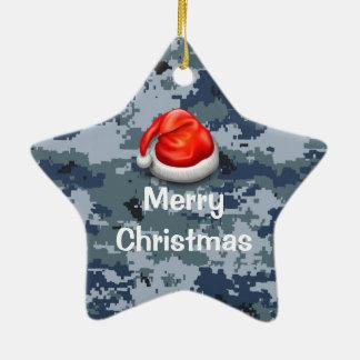 海軍迷彩柄の星のメリークリスマスのオーナメント セラミックオーナメント