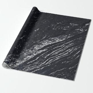海軍銀製灰色のカラーラの黒い大理石の石 ラッピングペーパー