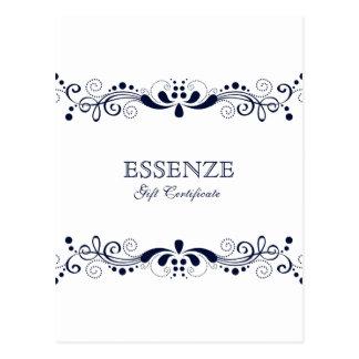 海軍青及び白い花のレースのギフト券 ポストカード