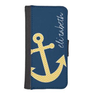 海軍黄色のシェブロンパターンを持つ航海のないかり iPhoneSE/5/5sウォレットケース