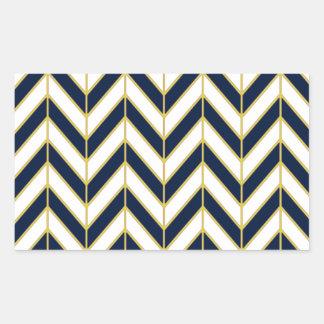 海軍、白および金ゴールドのヘリンボンパターン枕 長方形シール