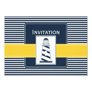 海軍|縞で飾ります、|灯台、|航海の|結婚|招待 12.7 X 17.8 インビテーションカード