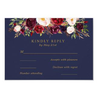 海軍Marsalaは開花しまRSVPカードを結婚します カード