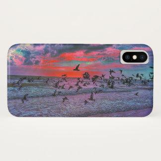海鳥が付いている熱帯日没のビーチ iPhone X ケース