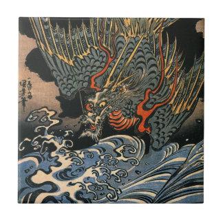 海龍、国芳、海のドラゴン、Kuniyoshi、Ukiyo-e タイル