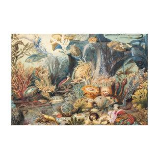 海|のキャンバスのプリントの下のヴィンテージ キャンバスプリント