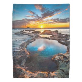 海(側面1)の対の羽毛布団カバーによる日没 掛け布団カバー