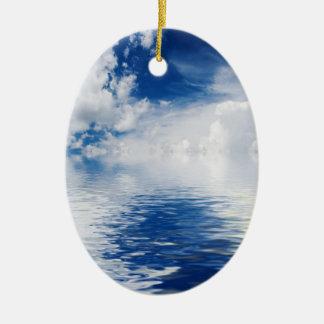 海、太陽および雲 セラミックオーナメント