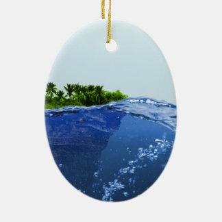 海、島の表面 セラミックオーナメント