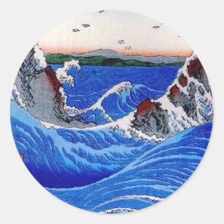 海、Hiroshigeの歌川広重 ラウンドシール